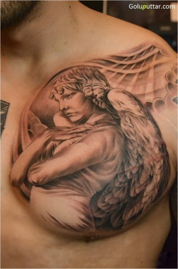 Great Angel Tattoo On Man Chest - Copy