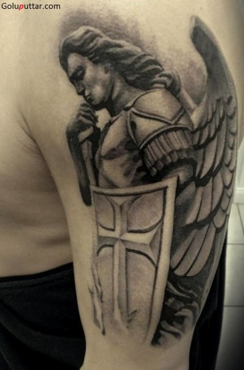 Great Angel Warrior With Shield Tattoo - Copy