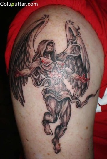 Incredible Male Angel Warrior Tattoo On Shoulder - Copy