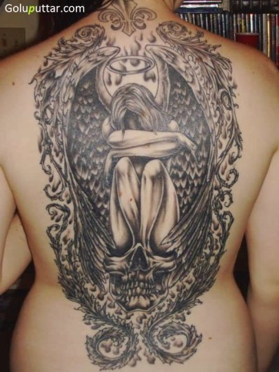 Innovative Skull And Angel Tattoo On Back - Copy