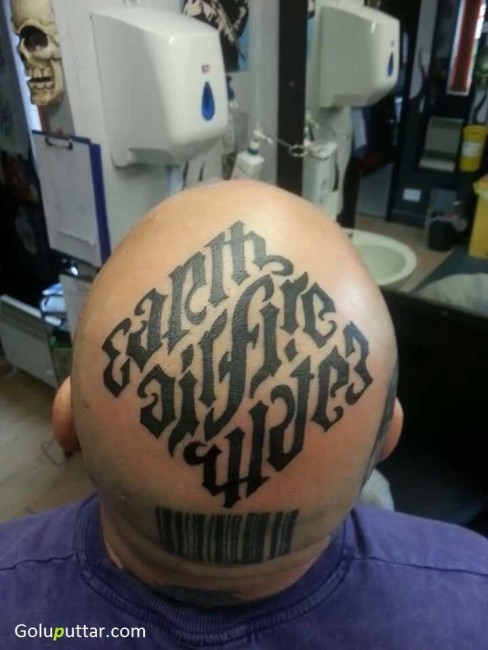 Latest Ambigram Text Tattoo On Head