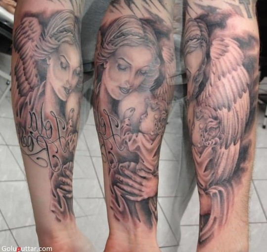 Lovely Angel And Baby Tattoo On Sleeve - Copy