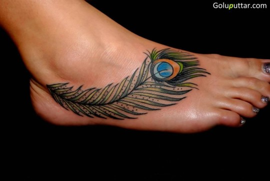 Lovely Ankle Tattoo Of Peacock Feather - Copy