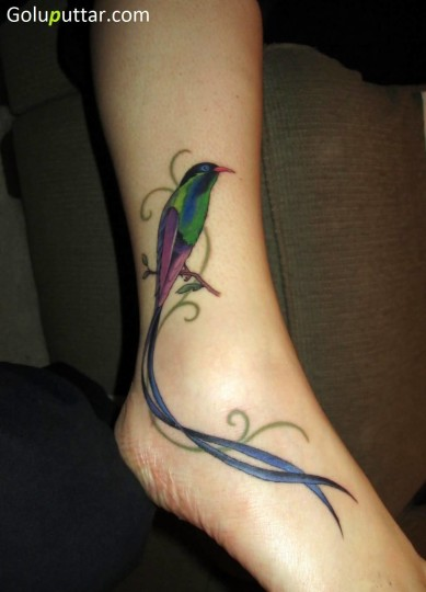 Lovely Bird Tattoo On Ankle - Copy