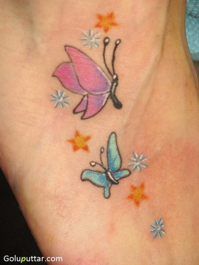 Lovely Pink And Blue Butterfly Tattoo - Copy