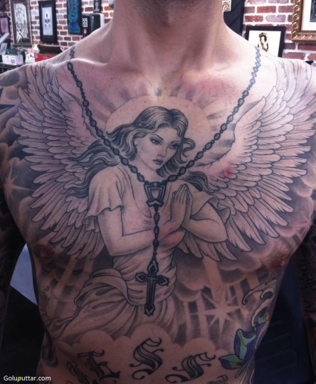 Lovely Praying Angel Tattoo On Chest - Copy