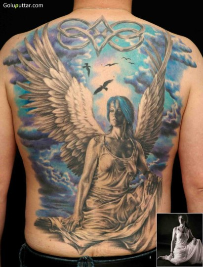 Man's Back Cover Up With Realistic Angel Tattoo - Copy