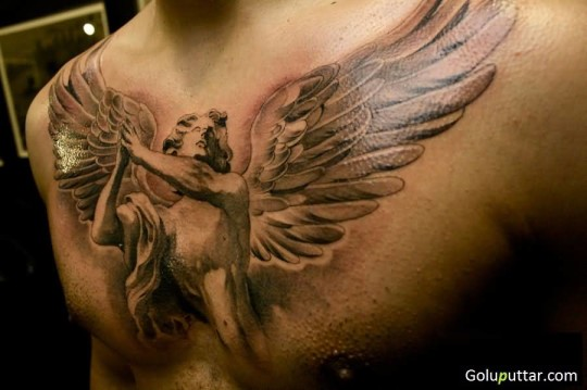 Marvelous Angel With Great Wings Tattoo On Chest - Copy