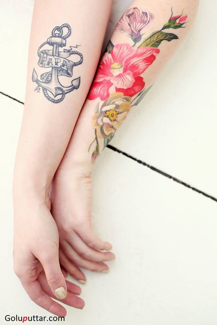 Mind blowing anchor and lily flower tattoo on sleeve for Anchor with flowers tattoo
