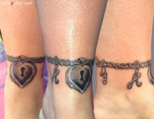 Mind Blowing Bracelet Chain And Heart Lock Tattoo On Ankle - Copy