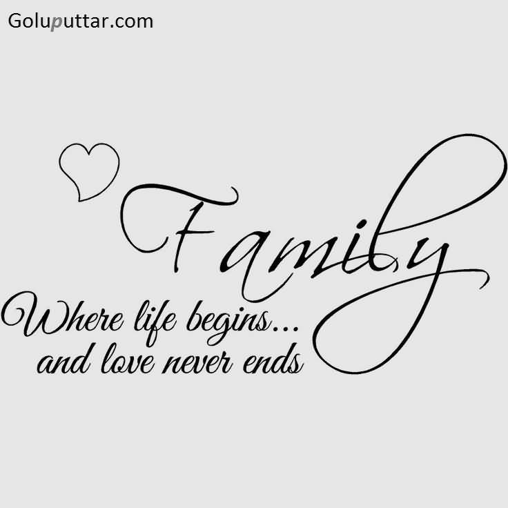 Nice Family Quote Love Never Ends In Family | Goluputtar