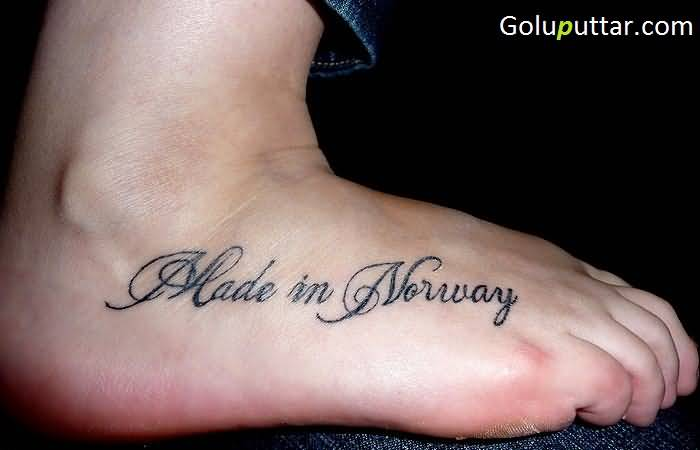 norway text tattoo on lovely ankle photos and ideas. Black Bedroom Furniture Sets. Home Design Ideas