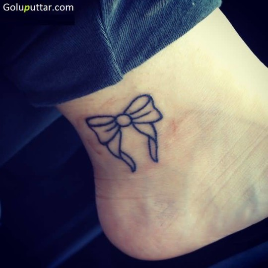 Outstanding Bow Ankle Tattoo Design For Lovely Girl - Copy