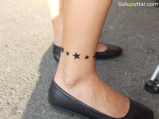 Perfect Star Tattoo Made With Black Color On Ankle - Copy