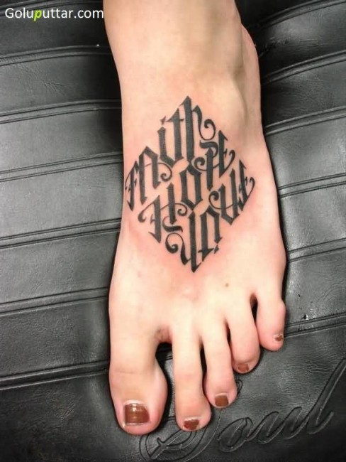 Popular Faith Hope Love Tattoo Made In Ambigram Style