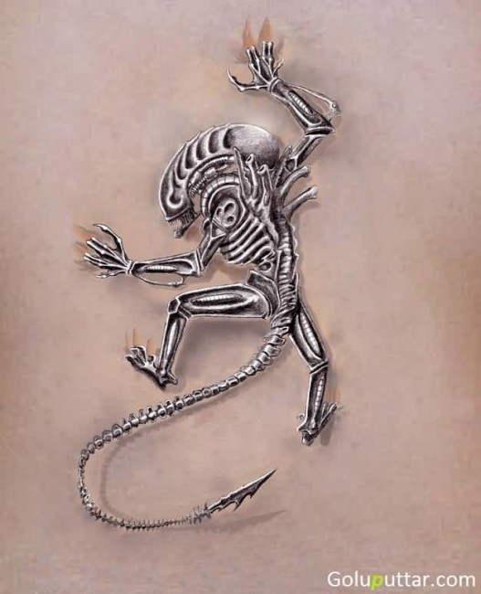 Realistic Alien Predator Tattoo For Man