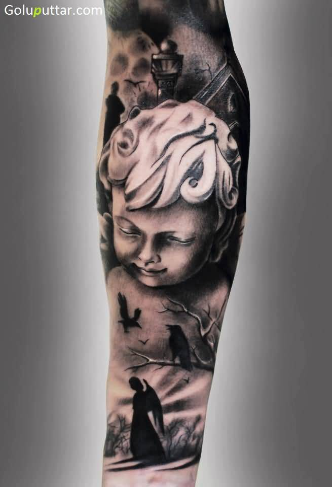 realistic angel baby tattoo on sleeve photos and ideas. Black Bedroom Furniture Sets. Home Design Ideas
