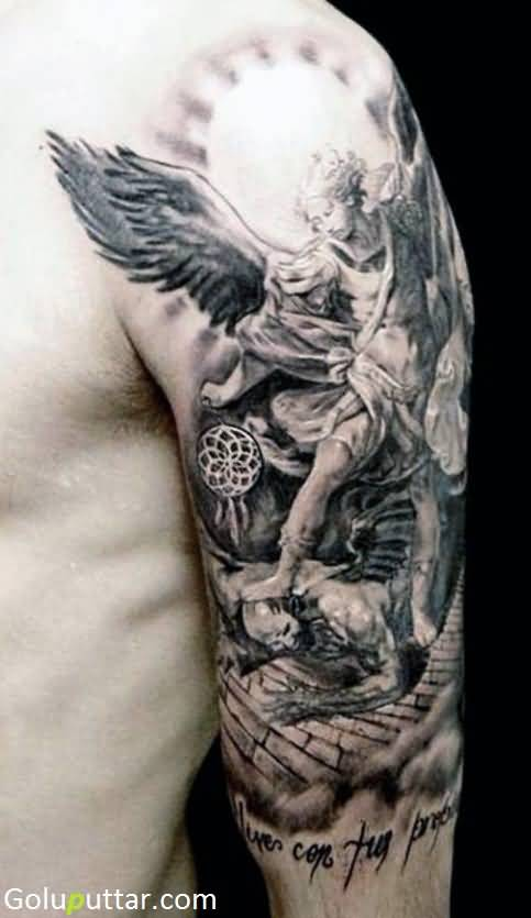 Angel sleeve tattoos for Angel half sleeve tattoo