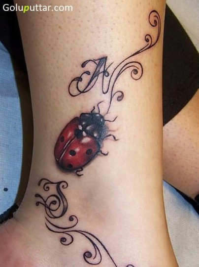 Red Lady Bug Tattoo On Ankle With Initials - Copy