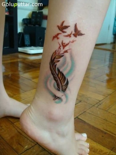 Ultimate Feather And Red Birds Tattoo For Girl's Ankle - Copy
