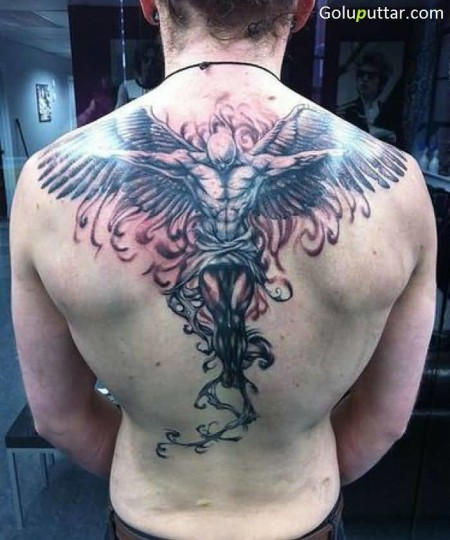99 Breathtaking Angel Tattoos With Meaning: Unique Male Angel Tattoo On Awesome Back