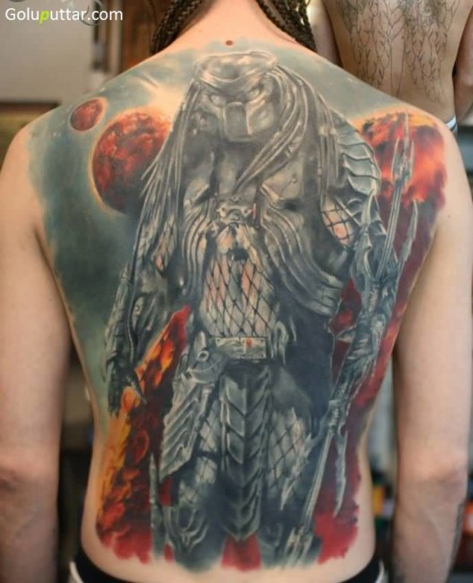 6a1356ba4 Whole Back Cover Up With Famous Predator Tattoo | Goluputtar
