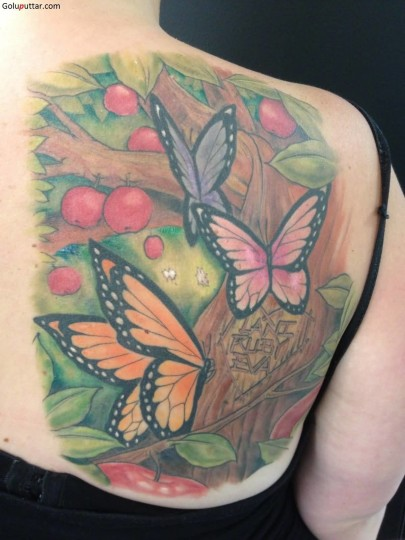 Amazing Butterfly And Apple Tree Tattoo On Uppeer Back