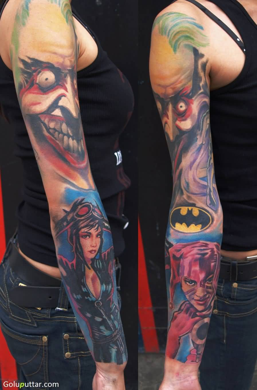 Amazing sleeve tattoo of animated joker photos and ideas for Arguments against tattoos