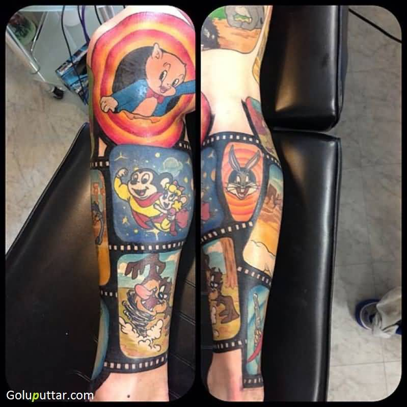 another best leg tattoo of animated looney tunes cartoon photos and ideas. Black Bedroom Furniture Sets. Home Design Ideas