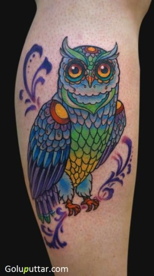 Attractive Animated Owl Tattoo Design On Leg - Copy