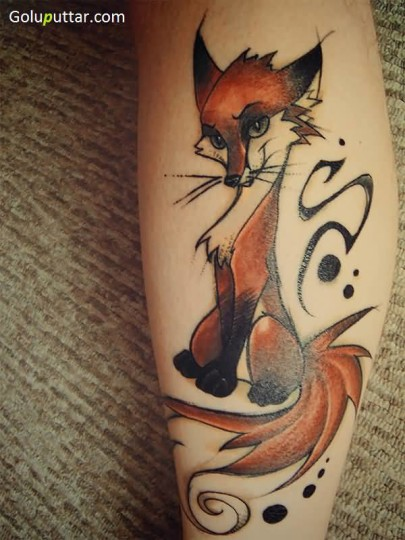 Awesome Animated Leg Tattoo Of Claver Fox - Copy