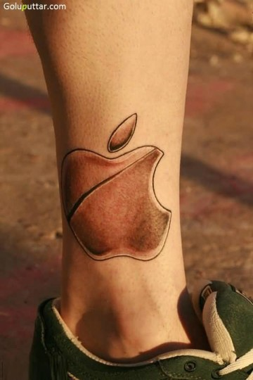 Awesome Leg Tattoo Of Apple Logo For Man