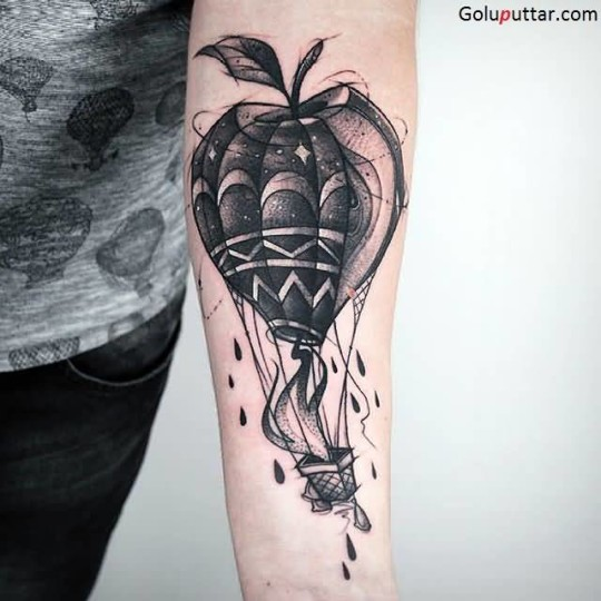Best Collaboration Of Apple And Hot Air Balloon Tattoo For Man