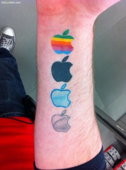 Different Logo Tattoo Of Apple On Man Sleeve