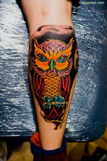 Fabulous Animated Owl Tattoo Design On Leg - Copy