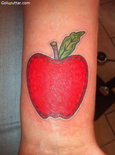 Fantastic Red Apple Tattoo Made By Expert Artist