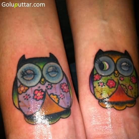 Glowing Animated Owl Couple Tattoo On Wrist, Photos and ...