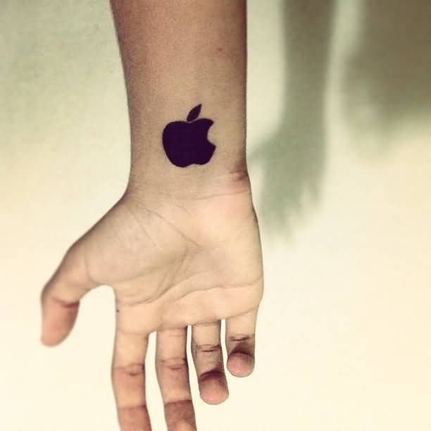 Impressive Wrist Tattoo Of Small Black Apple Logo | Goluputtar