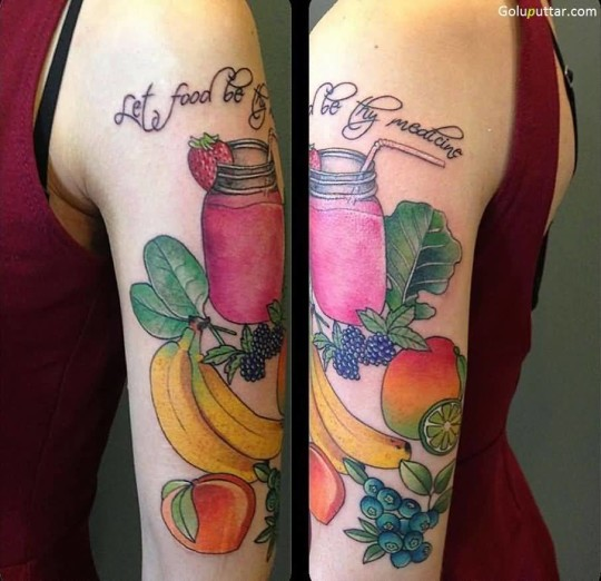 Incredible Apple Fruit Tattoo Designs With Banana On Sleeve