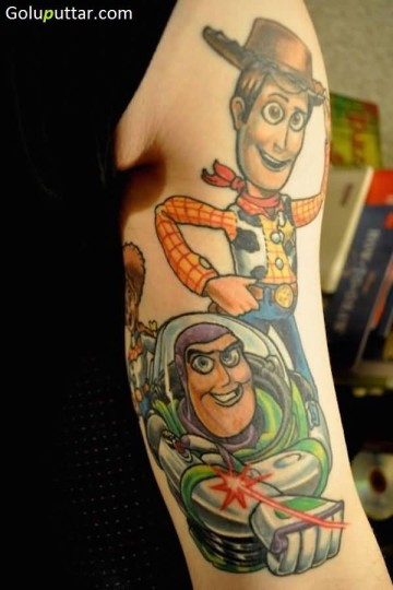 Latest Animated Toy Story Character Tattoo On Sleeve - Copy