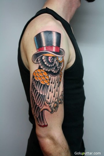 Lovely Tattoo Of Animated Owl Wearing Black Hat - Copy