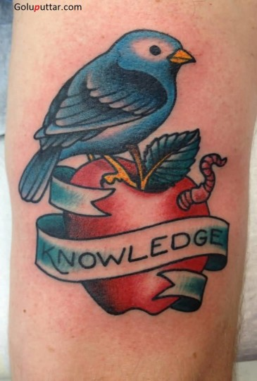 Mind Blowing Tattoo Of Red Apple With Bird And Banner
