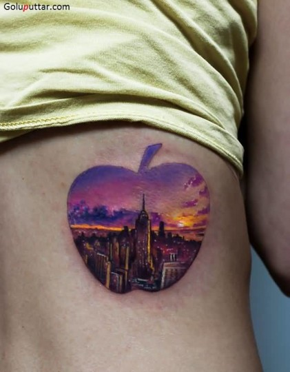 Perfect City Tattoo In Apple On Girl Back