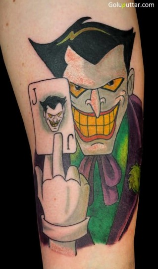 Popular Animated Leg Tattoo Of Joker With Playing Card - Copy