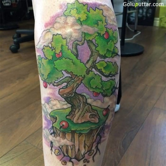 Realistic Apple Tree Tattoo With Soil