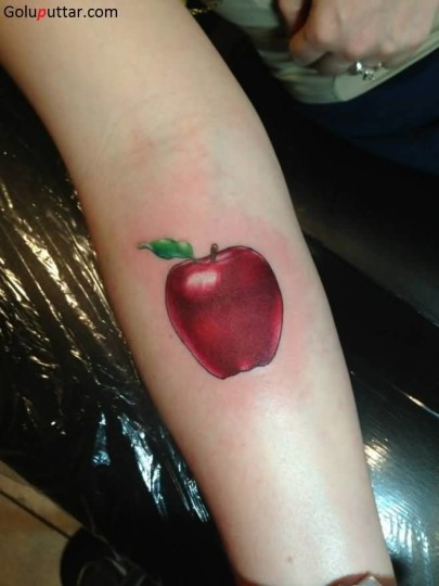 Realistic Red Apple Fruit Tattoo Design On Girl Sleeve