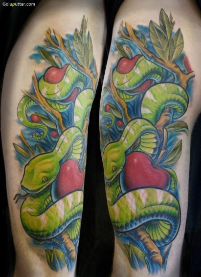 Scary Green Snake And Red Apple Tattoo On Sleeve