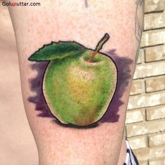 Stunning  Green Apple Tattoo With Purple Backgruound