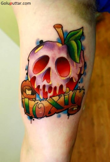 Superb Melting Red Apple Skull Tattoo On Biceps