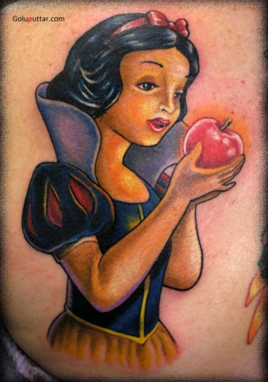 Tattoo Of Snow White Eating Red Poison Apple